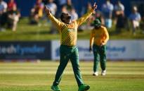 South Africa's  Tabraiz Shamsi celebrates the fall of an Irish wicket during the T20 International match in Dublin on 19 July 2021. Picture: @cricketireland/Twitter