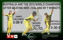 Australia are the 2015 World Champions after beating New Zealand by 7 wickets in Melbourne.  Picture: EWN