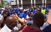 A Democratic Alliance (DA) protest march to the African National Congress (ANC)'s Cape Town office has started with minor scuffles between opposing party members. Picture: Xolani Koyana/EWN.