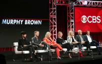 Actor Nik Dodani, actor Jake McDorman, actress Candice Bergen, executive producer Diane English, actress Faith Ford, actor Joe Regalbuto, and actor Grant Shaud of the television show 'Murphy Brown' speak during the CBS segment of the Summer 2018 Summer Television Critics Association Press Tour at Beverly Hilton Hotel on 5 August 2018. Picture: AFP