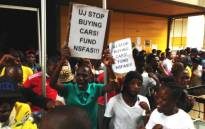 A group of students at the University of Johannesburg protest the lack of Nsfas funding, 27 January 2014. Picture: Sebabatso Mosamo/EWN.