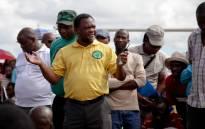 FILE: AMCU's Jimmy Gama addressess Amplats miners at the Komanani shaft. Picture: EWN
