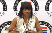 A screengrab of former South African Airways (SAA) board chairperson Cheryl Carolus appearing at the Zondo commission of inquiry on 29 November 2018.