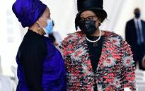 KwaZulu-Natal MEC for Arts and Culture Hlengiwe Mavimbela and Director-General Dr Nonhlanhla Mkhize arrive at the memorial service of Zulu Regent Her Majesty Queen Mantfombi Dlamini Zulu on Friday, 7 May 2021. Picture: Twitter/@kzngov
