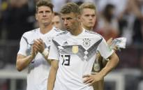 Germany's forward Thomas Mueller reacts after losing the Russia 2018 World Cup Group F football match between Germany and Mexico at the Luzhniki Stadium in Moscow on 17 June, 2018. Picture: AFP.