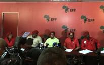 The Economic Freedom Fighters' Julius Malema is briefing the media on the allegations that it benefitted from the looting of VBS Mutual Bank. Picture: EWN