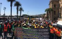 "Scores of ANC supporters gathered under the banner ""Occupy Wale Street,"" where the party delivered what it calls the 'real State of the Province Address"".. Picture: @ANCWesternCape_/Twitter"