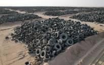 A tyre graveyard in Kuwait. Picture: @oxford_guthier/Twitter.