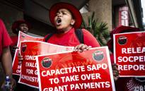 Nehawu workers protest outside one of the Sassa offices in Johannesburg on 10 October 2018. The strike was against Sassa's biometric system for beneficiaries. Picture: Abigail Javier/EWN