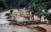 FILE: This picture shows the Umhlatuzana Hindu Temple, south of Durban, damaged after the township was hit by heavy rain and flash floods following a torrential downpour on 23 April 2019. Picture: AFP