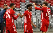 Bayern Munich's French forward Kingsley Coman celebrates scoring the 4-0 goal with his teamates during the UEFA Champions League Group A football match FC Bayern Munich v Atletico Madrid in Munich, southern Germany on 21 October 2020. Picture: @FCBayernEN/Twitter