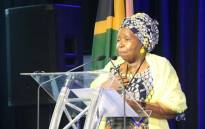 Cooperative Governance and Traditional Affairs Minister Nkosazana Dlamini Zuma addressing the second installment of the Kgalema Motlanthe Foundation's Inclusive Growth Forum gathering in Drakensberg, Kwa-Zulu Natal, on 12 October 2019. Picture: @NationalCoGTA/Twitter.