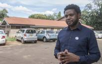 Luke Tembo, an executive member of Human Rights Defenders Coalition (HRDC) addresses the media outside the Lilongwe police station in Lilongwe on 10 March 2020. Picture: AFP