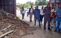 Transport Minister Fikile Mbalula visits the site in Heidelberg where stolen copper cables, including Prasa equipment, were found on 9 February 2020. Picture: @MbalulaFikile/Twitter