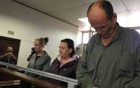 (From left to right) Tharina Human, Laetitia Nel and Pieter van Zyl appear in the Vanderbijlpark Magistrates Court on 19 September 2019. The three people are accused of masterminding the kidnapping of Amy'Leigh De Jager. Picture: Kgomotso Modise/EWN