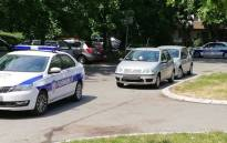 Serbian police at the scene where George Darmanovich was shot. Picture: Supplied.