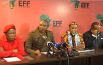 A YouTube screengrab of EFF and Contralesa leadership at a briefing.