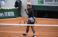 Serena Williams celebrates a point during her French Open match on 27 May 2019. Picture: @rolandgarros/Twitter