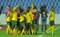 Banyana Banyana celebrate a goal. Picture: @GovernmentZA/Twitter