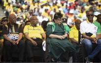 Jacob Zuma sits with the ANC's top members during the party's 107th birthday celebration at the Moses Mabhida Stadium in Durban on 12 January 2018. Picture: Sethembiso Zulu/EWN
