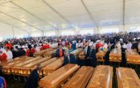 This as about 3,000 mourners descended on the Eastern Cape Town on Friday to pay their respects. Picture: Twitter/Fikile Mbalula