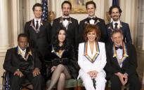 The 2018 Kennedy Center Honourees: (Back) The creators of the Broadway musical 'Hamilton'. (Front) Wayne Shorter, Cher, Reba McEntire and Philip Glass. Picture: @kencen/Twitter
