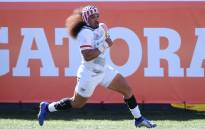 Folau Niua #7 of the United States scores a try against New Zealand during the USA Sevens Rugby tournament at Sam Boyd Stadium on 3 March 2019 in Las Vegas, Nevada. The United States won 24-19. Picture: AFP