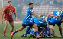 Stormers scrum half Herschel Jantjies clears the ball during the Super Rugby match against the Sunwolves at Newlands Stadium in Cape Town on 8 June 2019. Picture: AFP