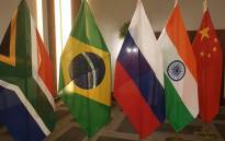 The flags of the BRICS member nations. Picture: @BRICS_10/Twitter