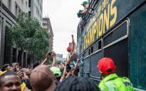 The Springboks arrived in Johannesburg CBD on 7 November 2019 after winning the World Rugby World Cup in Japan. Picture: Thomas Holder/EWN.