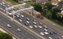 An aerial view taken from a helicopter showing an e-toll gantry on the N1 highway. Picture: Aki Anastasiou/EWN.