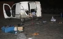 This photo taken on 2 March, 2017 in Brussels shows the remnants of a car after an explosive disposal robot unit examined the automobile, after police stopped the driver, known by authorities for radicalism, for initially failing to stop at a traffic light and subsequently discovering two gas cylinders within the rear of the vehicle. Picture: AFP.