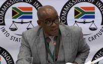 A YouTube screengrab of Moses Moremi giving evidence at the state capture inquiry on 13 August 2019.