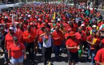 Cosatu members march in Cape Town in protest against the poor state of the country's public transport system on 20 February 2020. Picture: Kaylynn Palm/EWN