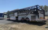 One of the torched buses at the Bellville CPUT campus. Picture: Supplied