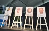 Four of the men who died in an explosion at the Rheinmetall Denel Munitions depot in Somerset West, Western Cape, were remembered during a memorial service on 20 September. Picture: Cindy Archillies/EWN
