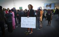 Bonteheuwel residents gathered along Jakes Gerwel Drive to protest against gangsterism in the area. Picture: Cindy Archillies/EWN