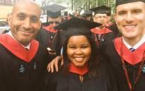 Lindiwe Mzibuko (C) with fellow graduates at Harvard University. Picture: Twitter @LindiweMazibuko.