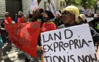 Western Cape rural women marced to Parliament on 15 October 2020, demanding productive land and a basic income grant. Picture: Kaylynn Palm/EWN