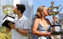 Australian Open 2020 champions Novak Djokovic (L) and Sofia Kenin (R). Picture: @AustralianOpen/Twitter