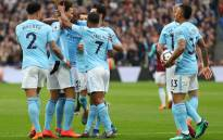 Manchester City players celebrate after secured a comfortable 4-1 win over West Ham United at the London Stadium on 29 April 2018. Picture: @ManCity/Twitter.