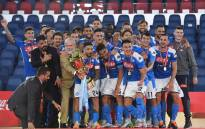 Napoli players celebrate the Coppa Italia victory over Juventus on 17 June 2020. Picture: @en_sscnapoli/Twitter