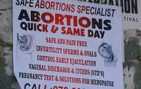 A poster advertising safe abortions in Johannesburg CBD. Picture: Taurai Maduna/Eyewitness News