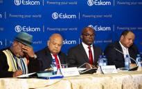 Eskom board chairperson Jabu Mabuza, Minister Pravin Gordhan, Eskom CEO Phakamani Hadebe and CFO brief the media on 23 July 2018. Picture: Kayleen Morgan/EWN
