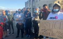 Community members held a peaceful protest outside the Atlantis Magistrates court on 5 May 2021. This after the murder of 21-year-old Charne Viljoen. Picture: Graig-Lee Smith/Eyewitness News