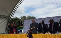 President Jacob Zuma at the Kruger National Park for the signing of the land claim agreement. Picture: Christa Eybers/EWN.