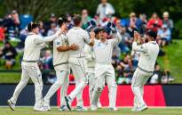 New Zealand players celebrate Tim Southee's wicket during their match against Sri Lanka. Picture: @BLACKCAPS/Twitter.
