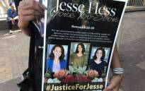 A supporter of Jesse Hess at the Bellville Magistrates Court on 13 February 2020 where the case against her alleged killers was postponed to 8 April 2020. Picture: Lauren Isaacs/EWN