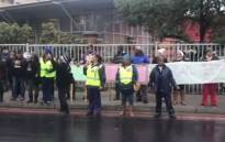Mitchells Plain community members picketing out a magistrate court where 25-year-old Christopher Brown made his first appearance in connection with the murder of six-year-old Stacey Adams. Picture: EWN
