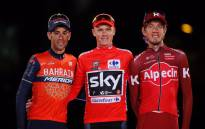 Vuelta a Espana winner Chris Froome (centre) with Vincenzo Nibali (left) and Ilnur Zakarin (right) at the end of the grand tour. Picture: @lavuelta/Twitter